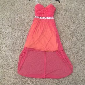 Coral Beaded Prom Dress